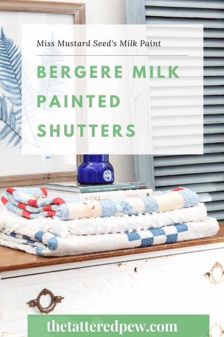 These large vintage shutters, painted in Bergere, by Miss Mustard's Seed's milk paint were a quick, thrifty and beautifully functional makeover. With just one coat of milk paint they were quickly transformed and now can be displayed not one, but two ways.