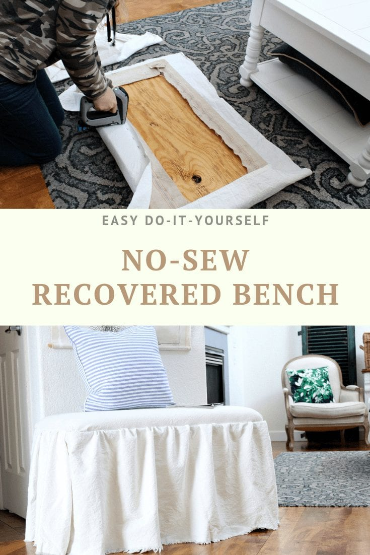 No-sew recovered bech using drop cloth fabric.
