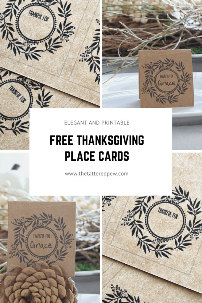 Elegant and free printable place cards for Thanksgiving.