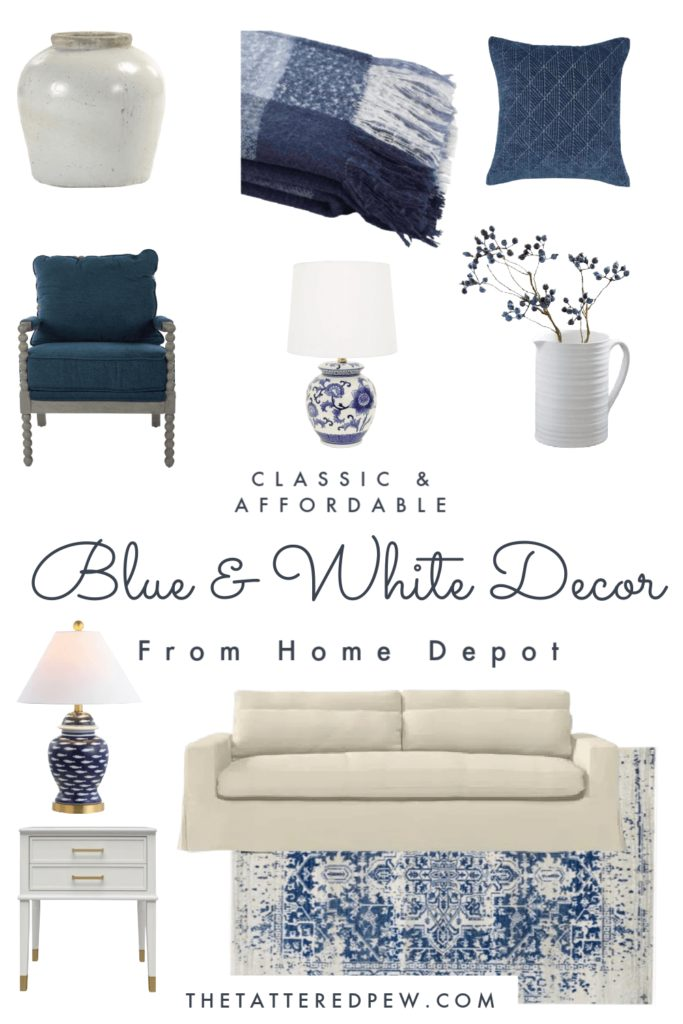 Classic and Affordable blue and white decor from Home Depot. #ad #shophomedepotdecor
