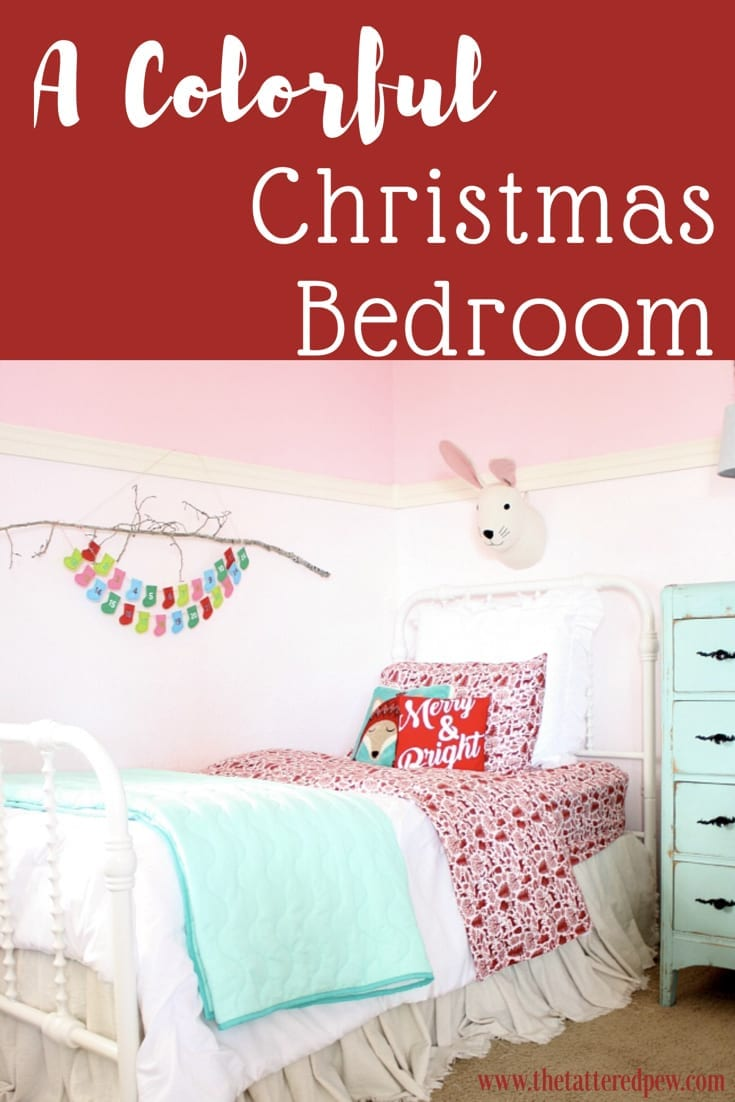 A Colorful Little Girls Christmas Bedroom