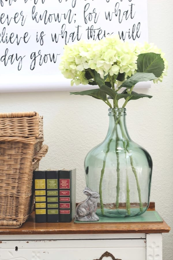 Hydrangeas, baskets and books a few practical ways to help transition your winter to spring decor!