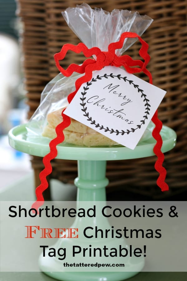 A delicious shortbread cookie recipe and free Christmas printable tag.