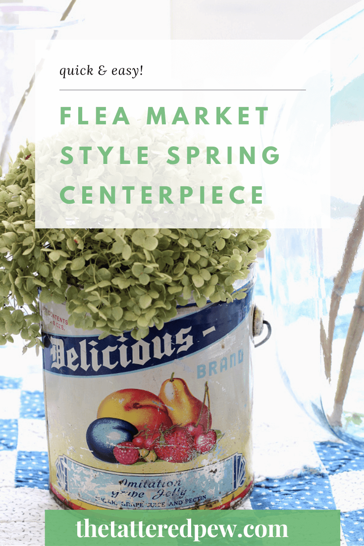 Looking for a way to bring Spring into your home? You will love this easy flea market style Spring centerpiece!