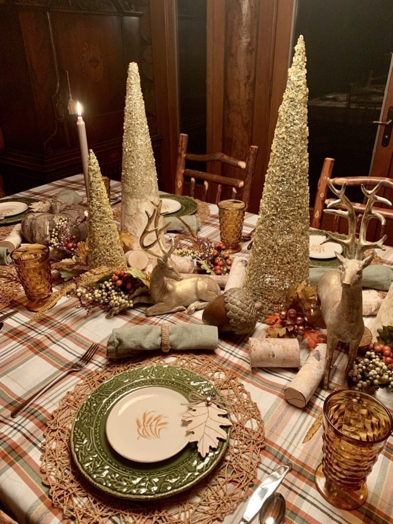 Welcome Home Sunday: Thanksgiving table from the woods.