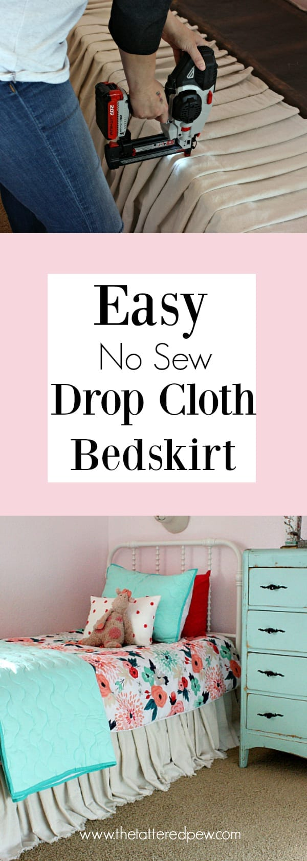 Easy No Sew Drop Cloth Bed Skirt The Tattered Pew