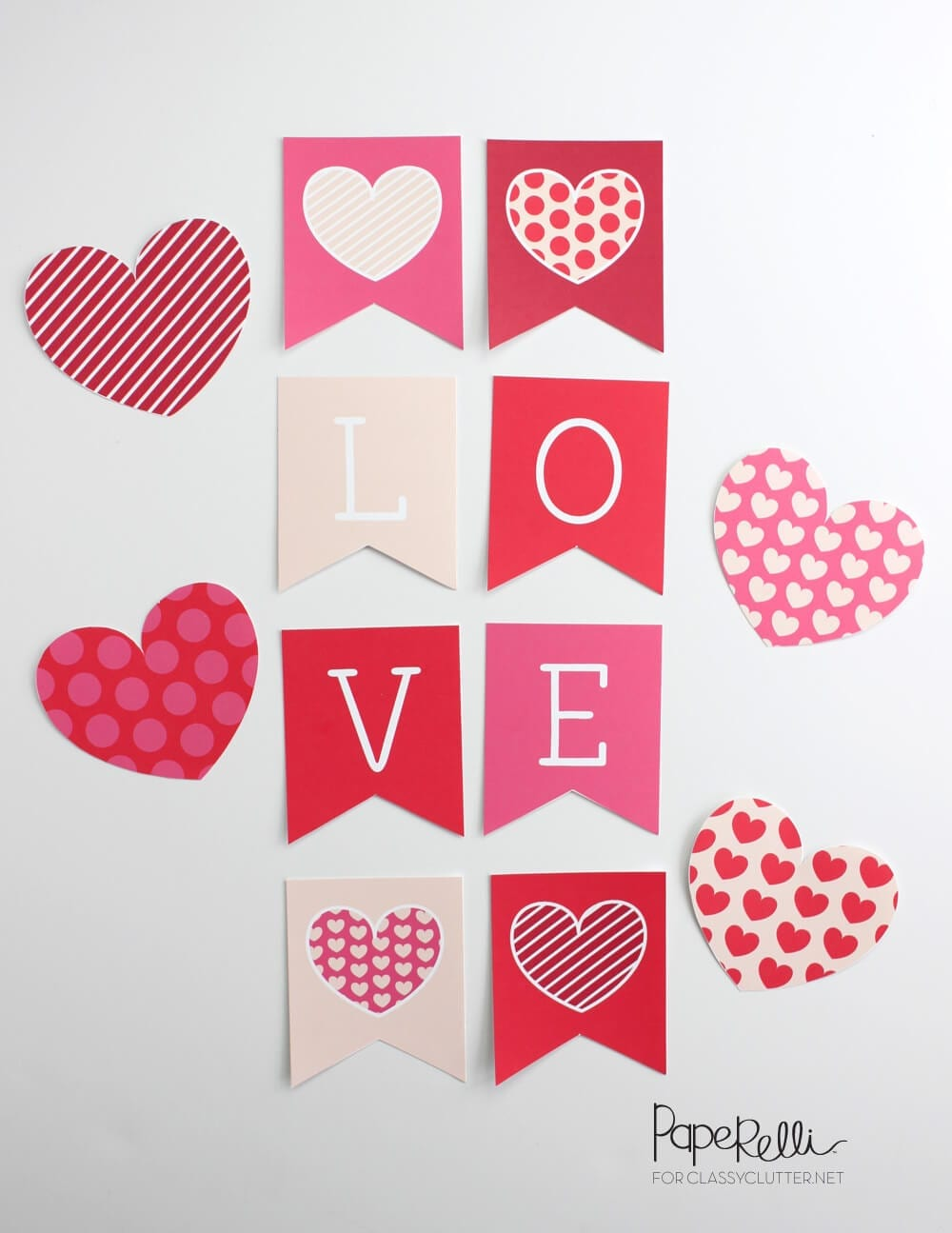Valentine's Day Banner Printable from classyclutter.com