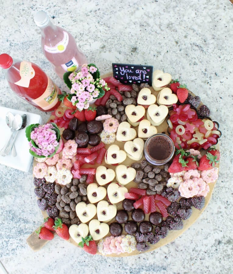 Valentine's Day Dessert Charcuterie Board with goodies from Trader Joe's!