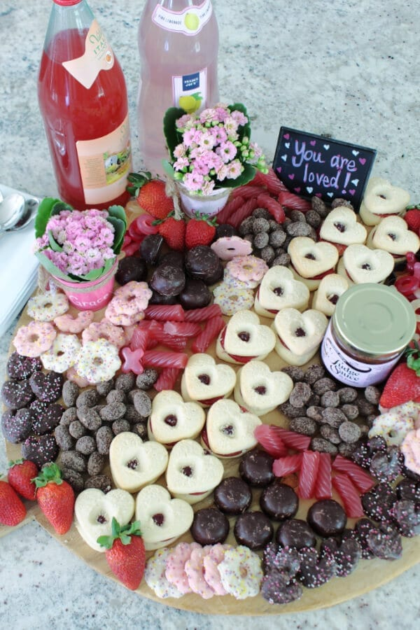 A yummy Valentine's Day Dessert Charcuterie Board