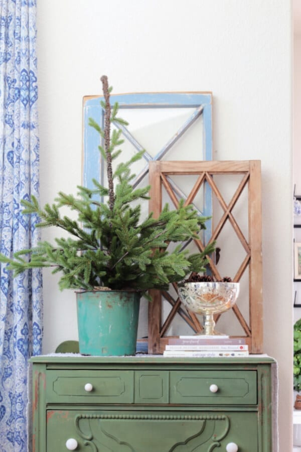 Layering winter blues and greens.