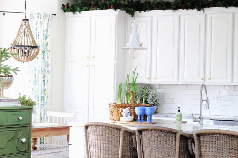 WInter kitchen decor using blues and greens!