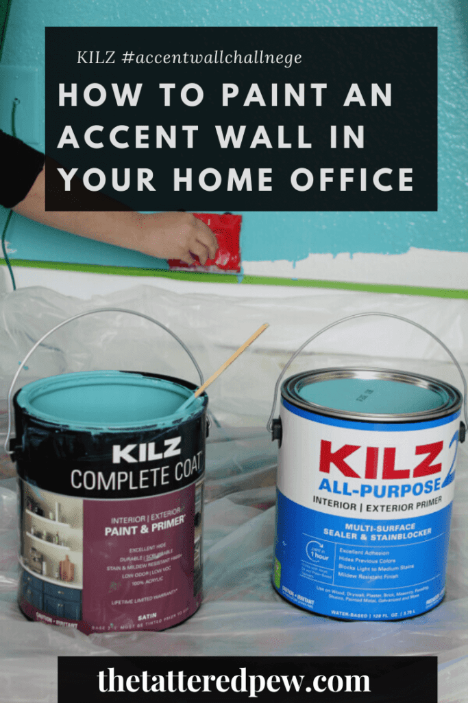 See how we used KILZ 2® ALL-PURPOSE Primer & KILZ Complete Coat® Paint to transform this room with just one statement wall in a few hours! Join me in the KILZ #accentwallchallenge ! Come on over on the blog for all the details of this quick and fun #DIY paint project! #sponsored #KILZ #accentwallchallenge #everyprojectisworthit