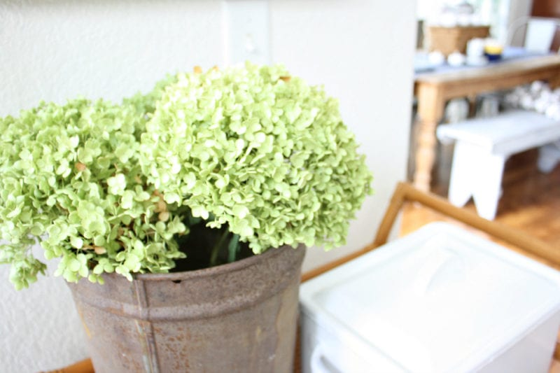 Dried hydrangeas are an effortless way to add simple fall decor.