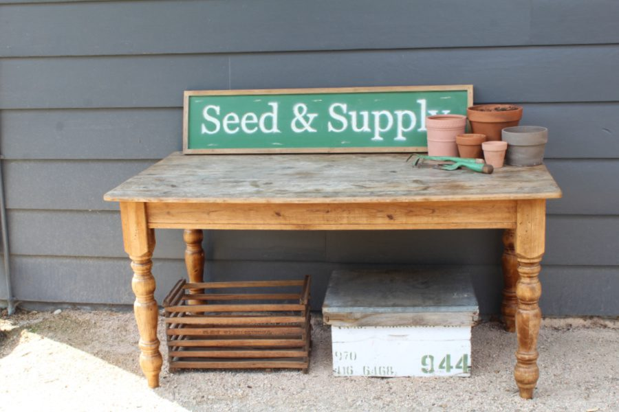 seed and supply sign on my potting table