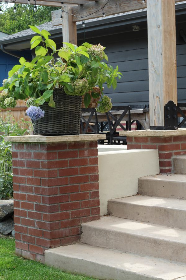 endless summer hydrangeas on brick pedestal