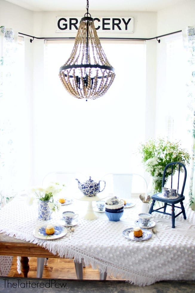Tea Time blue and white style at the kitchen table.