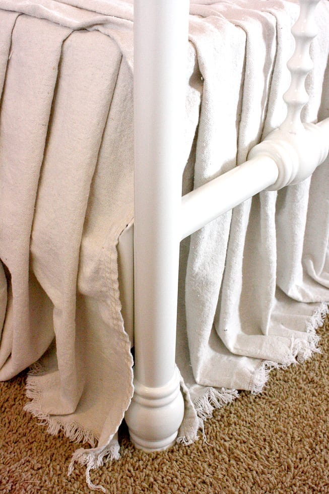 This DIY no sew drop cloth bed skirt is a budget friendly home decor project anyone can make!