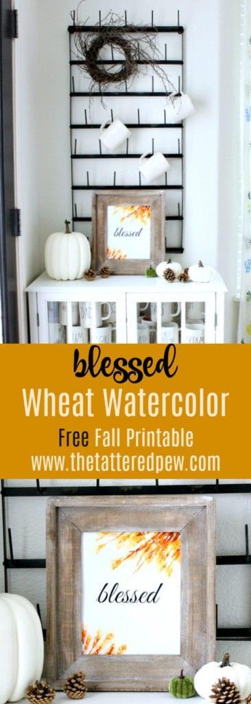 Wheat watercolor free fall printables.