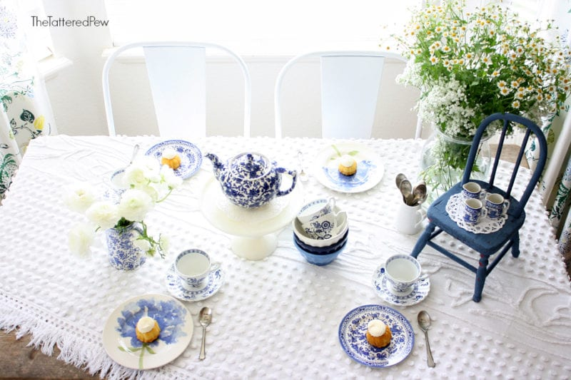 A Mother's Day tea party blue and white style!