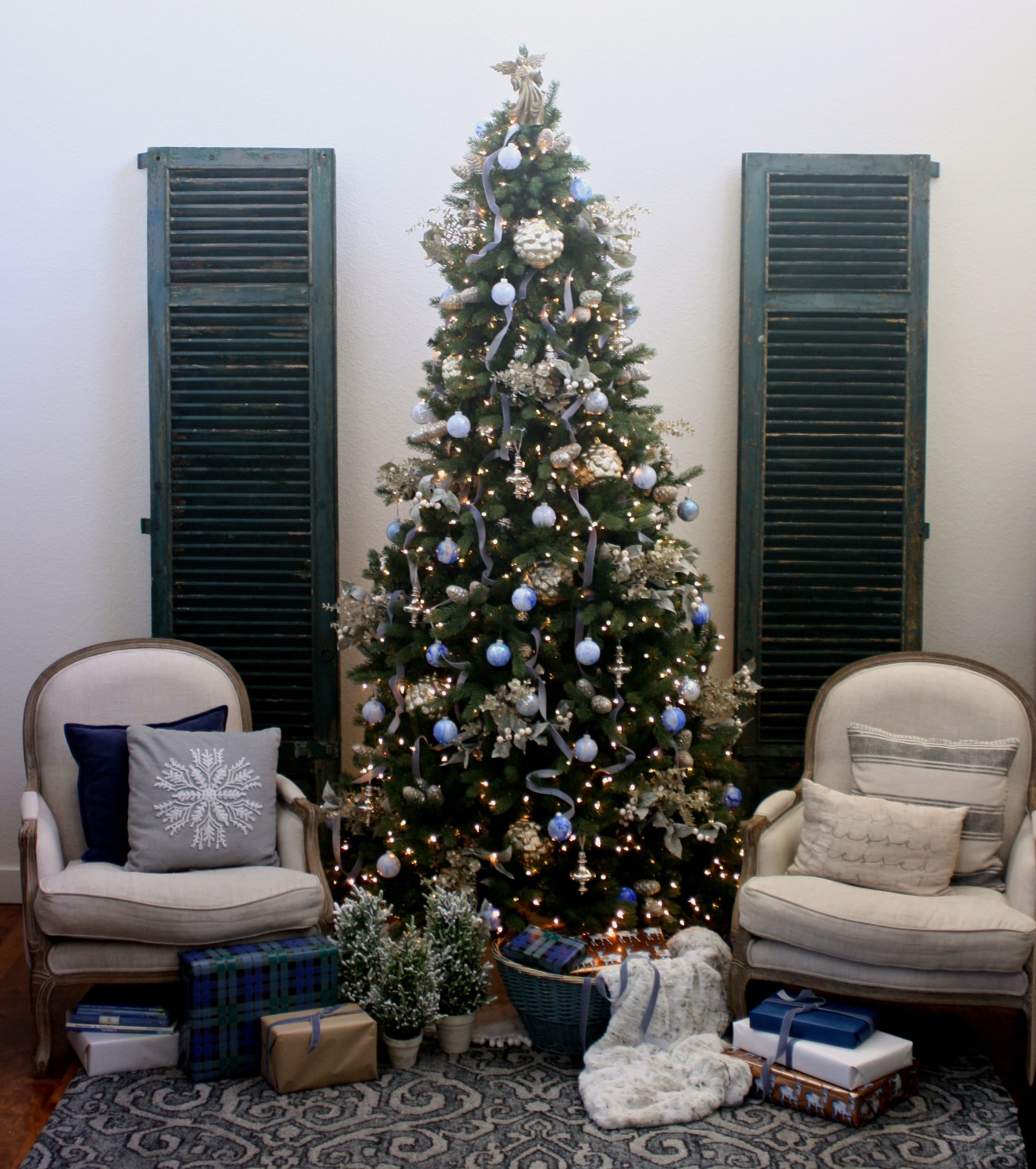 How to decorate with blues for Christmas.