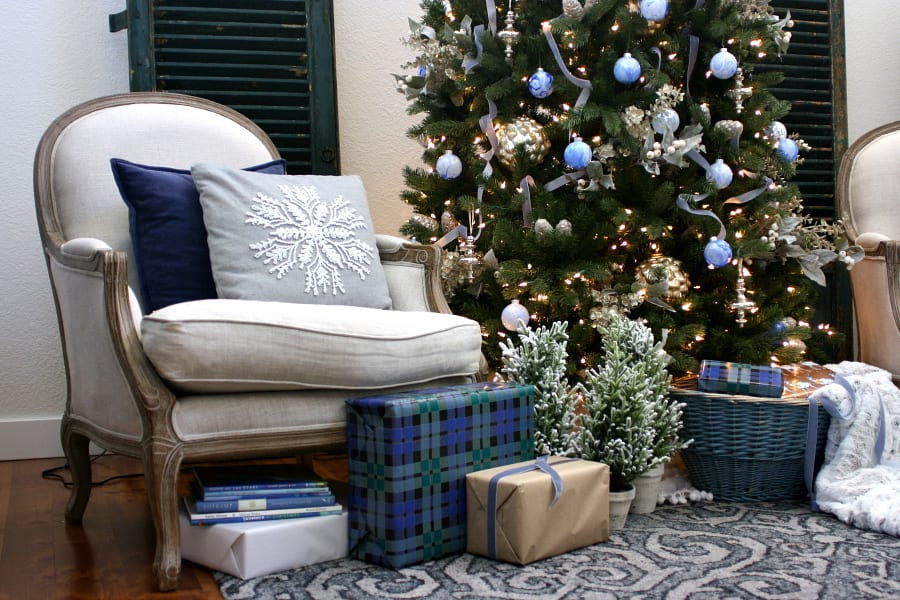Blues, plaids and mercury glass for Christmas can be so charming!
