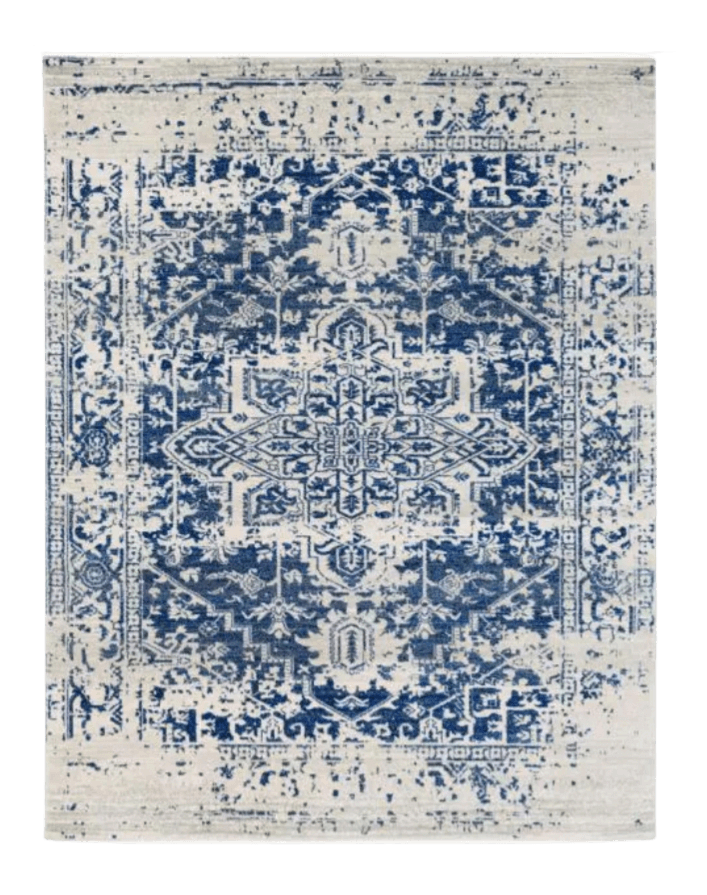 Blue and ehite oriental style rug from Home Depot.