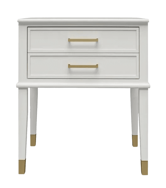 Chic white end table with gold accent from Home Depot
