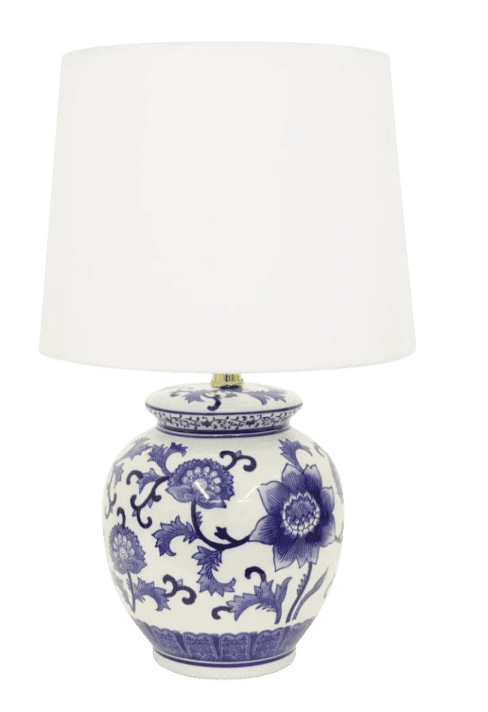 blue and white round chinoiserie lamp from home depot is beautiful!