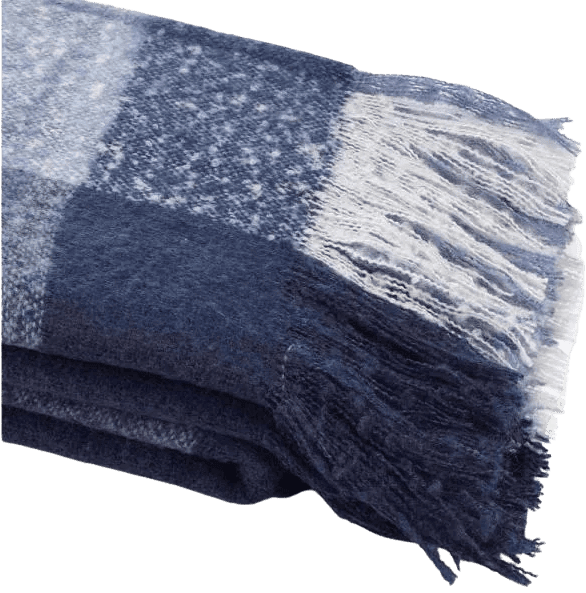Classic and affordable: Plaid navy and white faux mohair throw from Home Depot