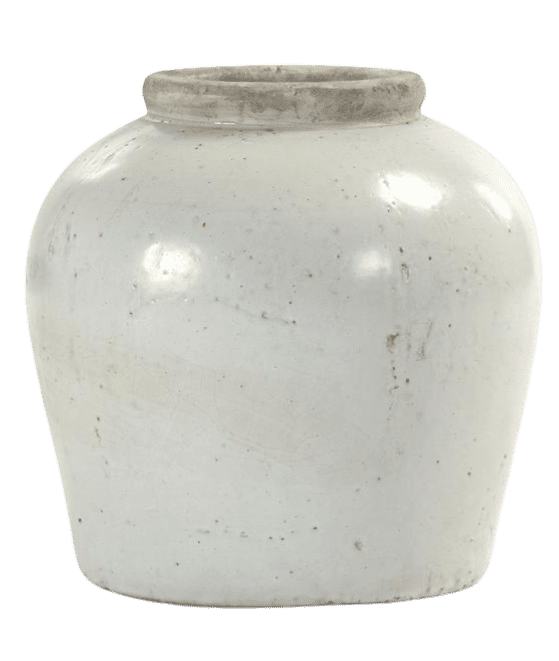 Distressed white, glazed vase from Home Depot.