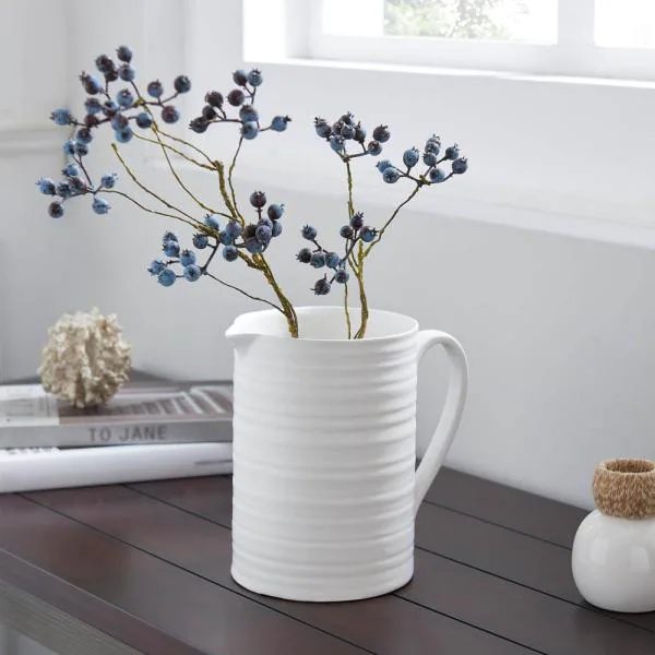 white ribbed pitcher with cottage charm from Home Depot