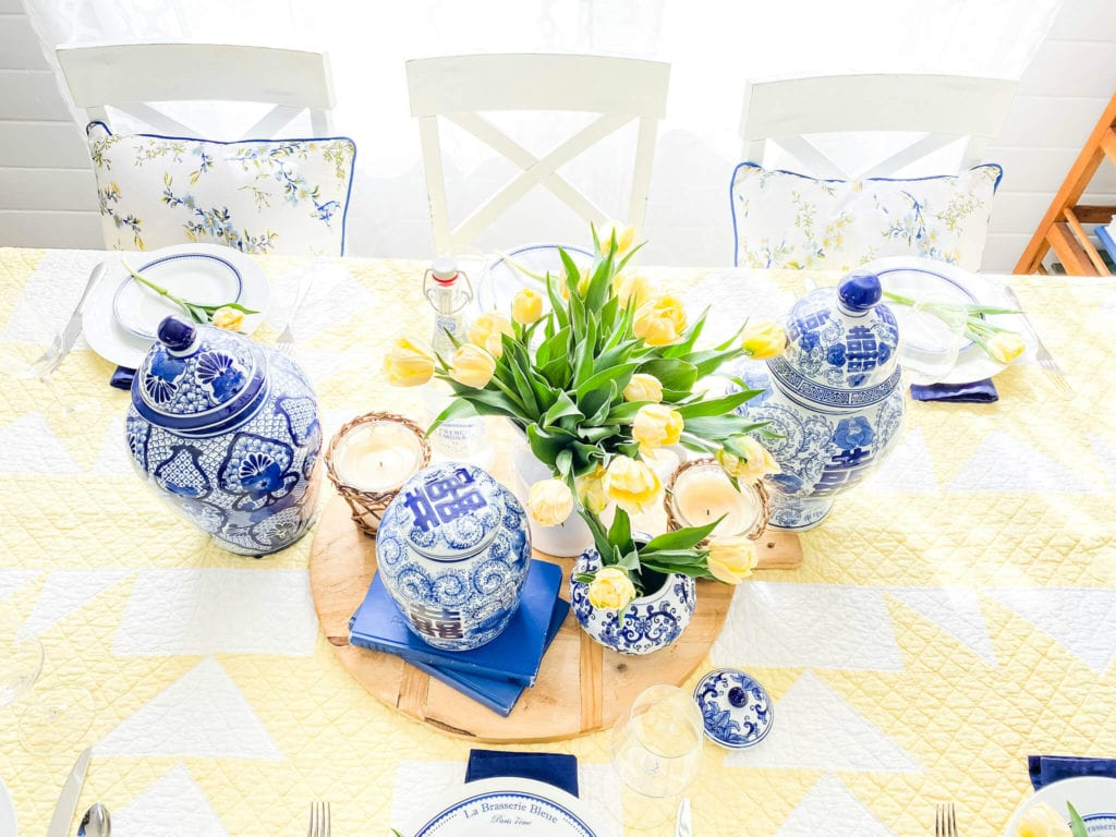 Welcome Home Sunday: Blue and Yellow Mother's Day Brunch Decor