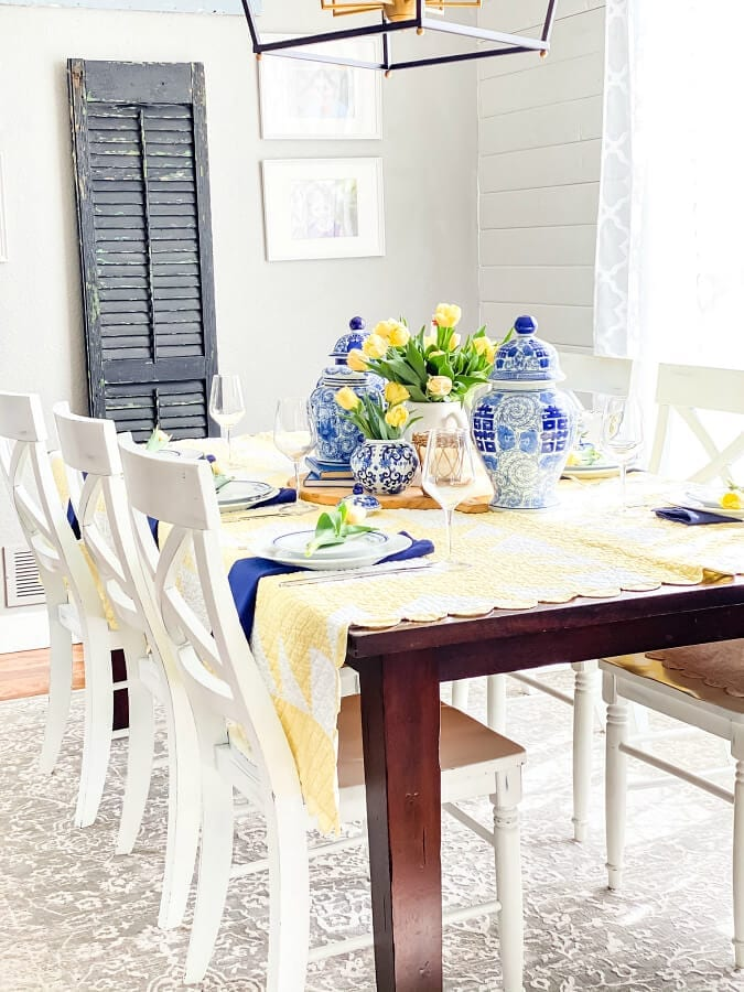 Mother's Day table with touches of blue and yellow.