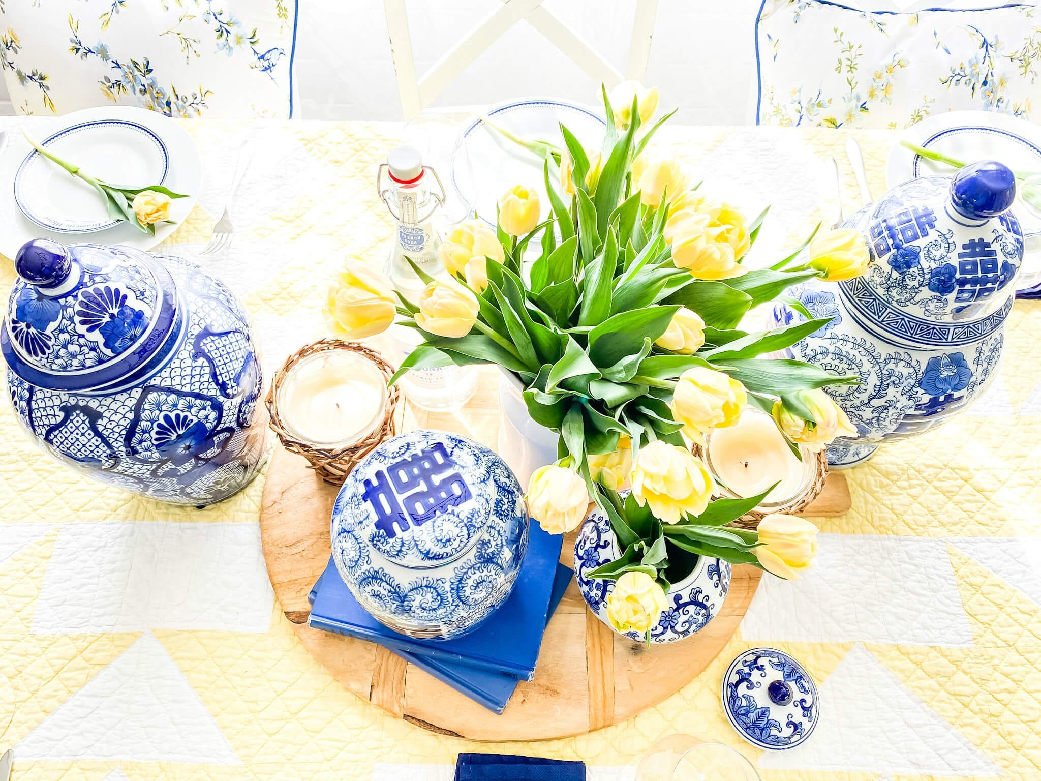 Mother's Day Bruch Table with Blue and Yellows