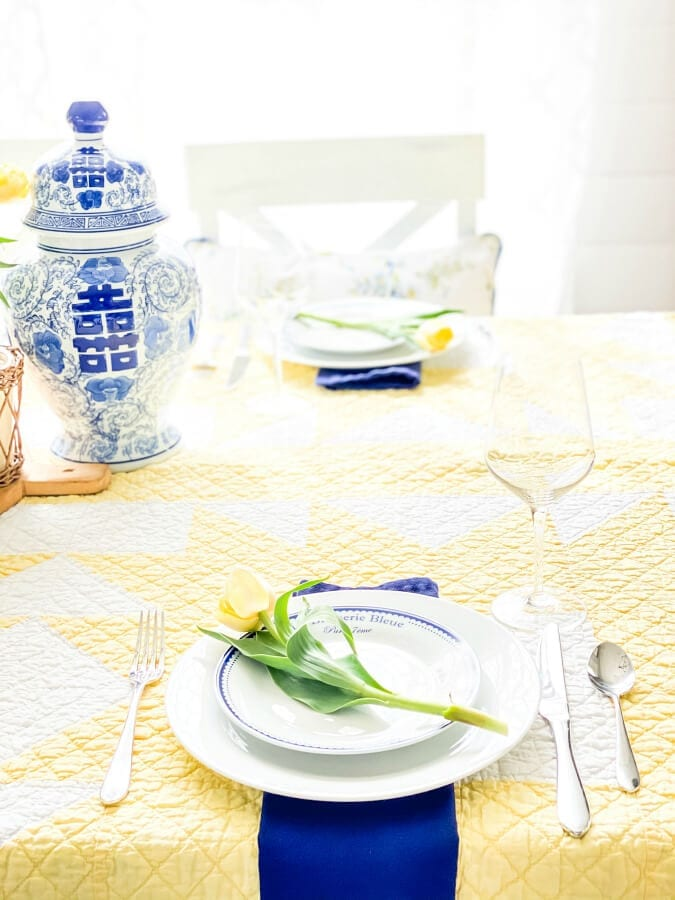 A beautiful yelow and blue themed table for Mother's Day brunch!