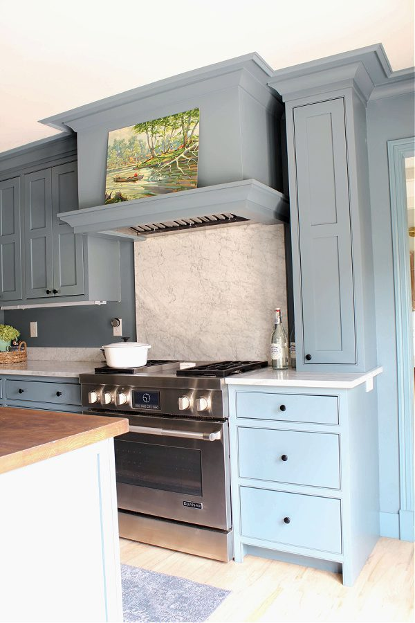Blue Kitchen with oven hood
