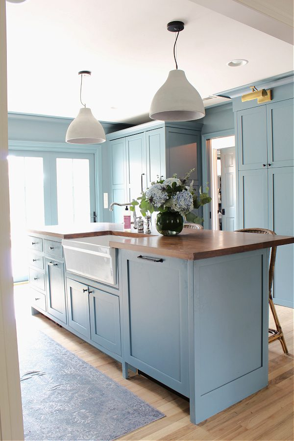 A Distance by Sherwin Williams blue kitchen