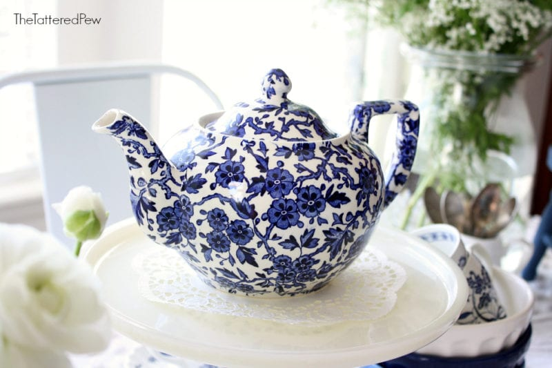 A blue and white floral tea pot perfect for afternoon tea.