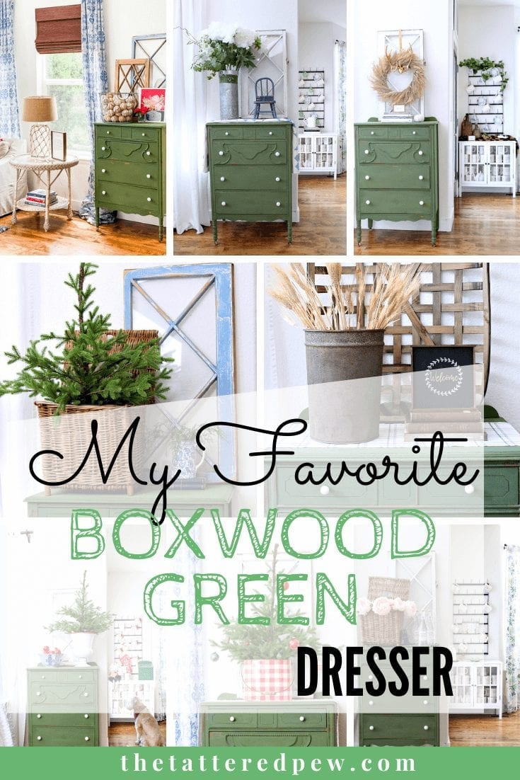 COme see my favorite boxwood green dresser decorated for every season!
