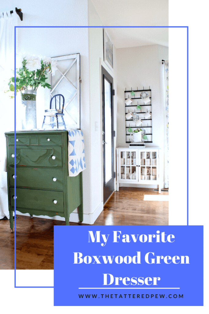 Everything you need to know about my favorite boxwood green dresser.