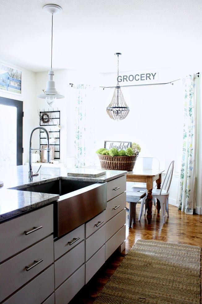 Farmhouse kitchen sink and fall decor for the kitchen.