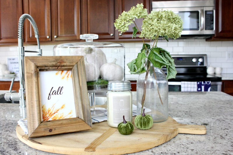 Fall kitchen vignette with free Fall printable on display.