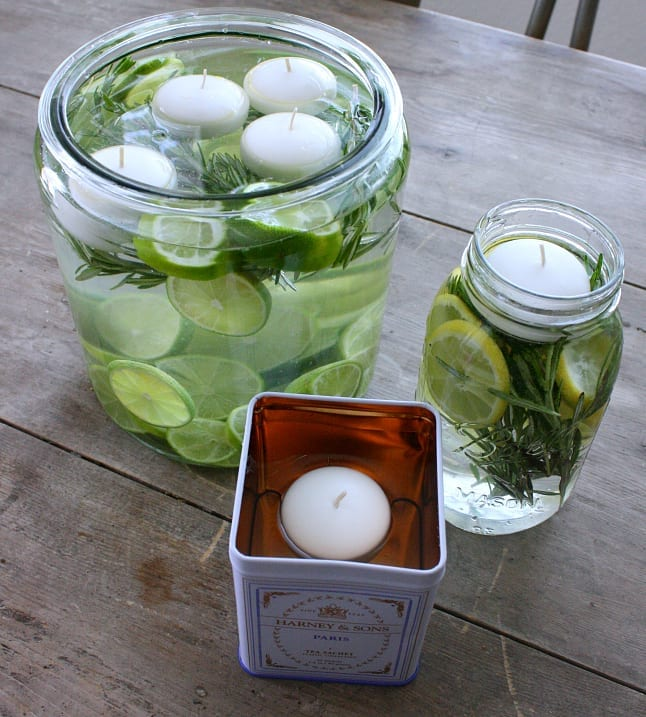 Three different container options for these pretty DIY citronella candles.