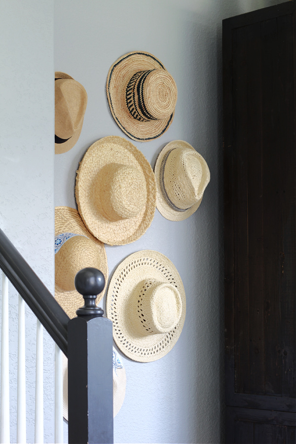 straw hat collection as decor