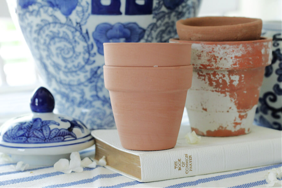 terra cotta and blue and white