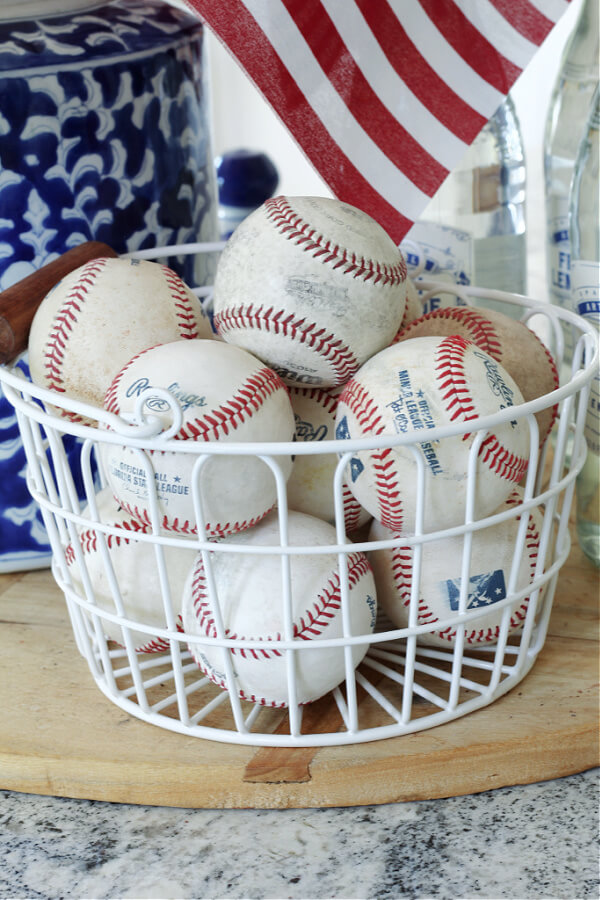 collected baseballs make the best casual home decor for summer!