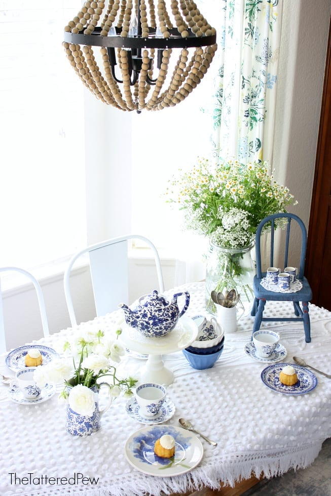 A kitchen nook tea party with touches of blue and white!