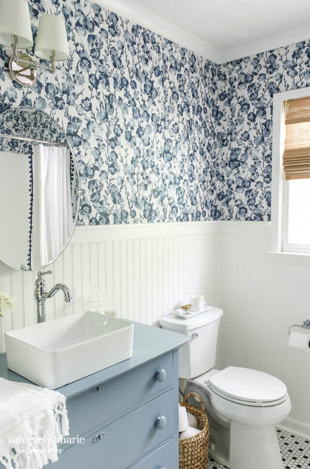 Welcome Home Sunday: Our cheery blue guest bathroom reveal!