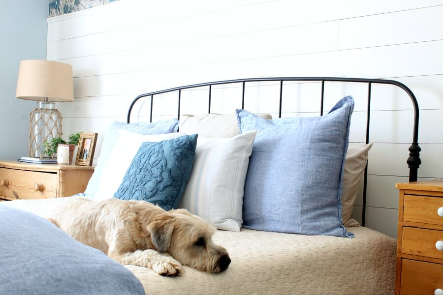 Our bedding is pet friendly and hides the dirt while still achieving that coastal cottage style!