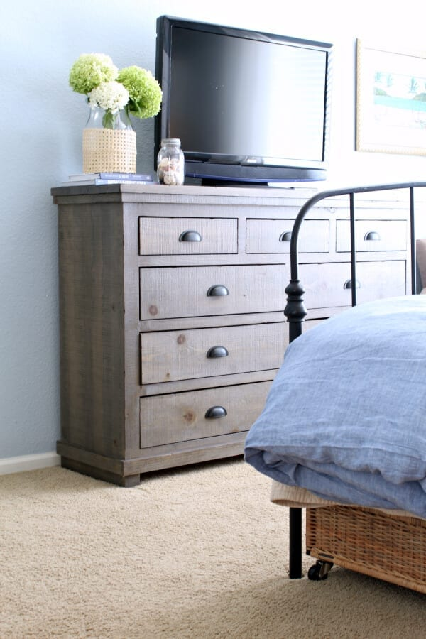 THis gorgeous weathered gray 9 drawer dresser from Wayfair is the perfect piece for our coastal cottage master bedroom!